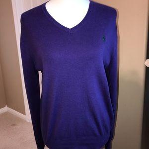 Ralph Lauren Polo v neck sweater small Pima 💜